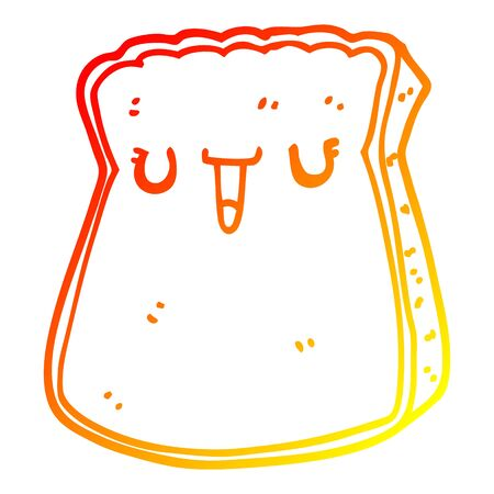 warm gradient line drawing of a cartoon slice of bread