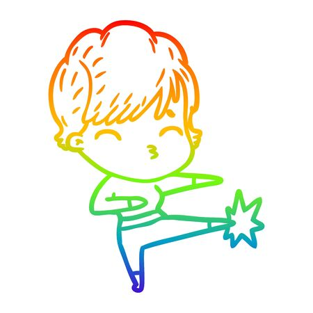 rainbow gradient line drawing of a cartoon woman thinking