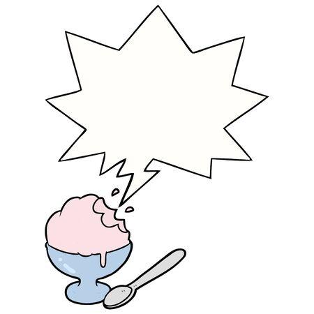 cartoon ice cream dessert in bowl with speech bubble