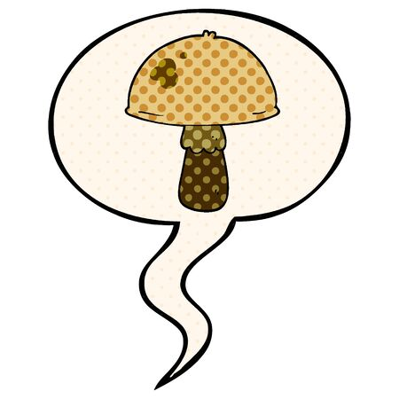 cartoon mushroom with speech bubble in comic book style  イラスト・ベクター素材