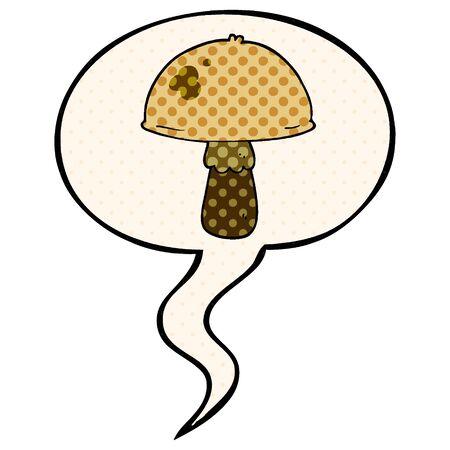 cartoon mushroom with speech bubble in comic book style Illustration