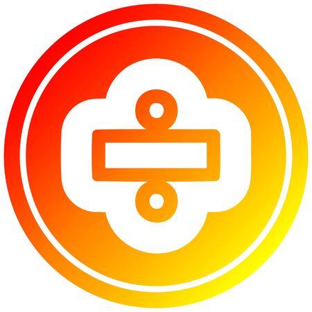 icône circulaire de signe de division avec finition dégradée chaude