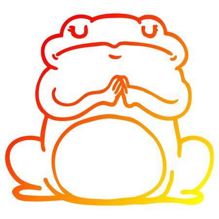 warm gradient line drawing of a cartoon arrogant frog 스톡 콘텐츠 - 130565890