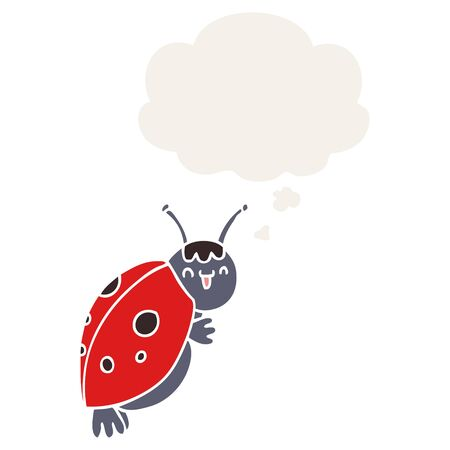 cute cartoon ladybug with thought bubble in retro style Foto de archivo - 130565965