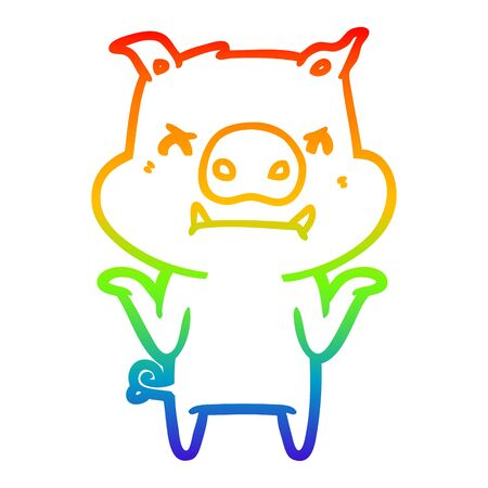 rainbow gradient line drawing of a angry cartoon pig shrugging shoulders