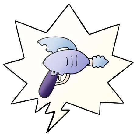 cartoon ray gun with speech bubble in smooth gradient style Ilustração