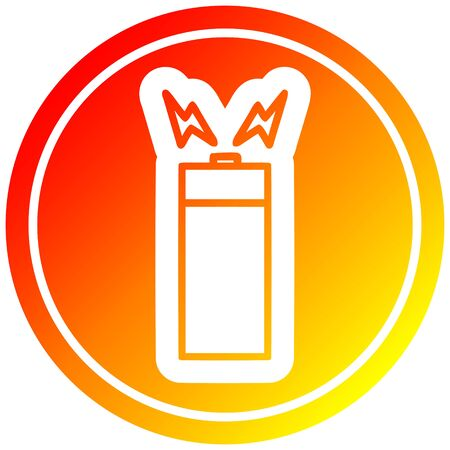 battery circular icon with warm gradient finish Ilustrace