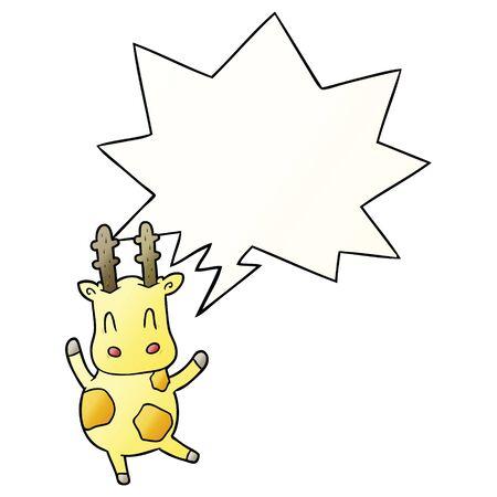 cute cartoon giraffe with speech bubble in smooth gradient style Foto de archivo - 130566094