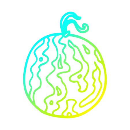 cold gradient line drawing of a cartoon melon Archivio Fotografico - 130566123