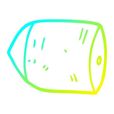 cold gradient line drawing of a cartoon bullet 向量圖像