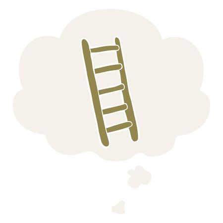 cartoon ladder with thought bubble in retro style