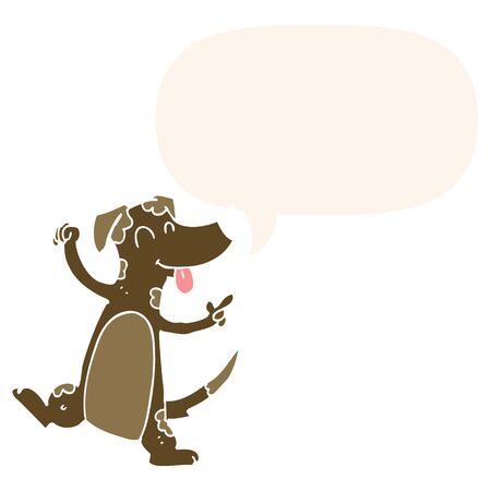 cartoon dancing dog with speech bubble in retro style