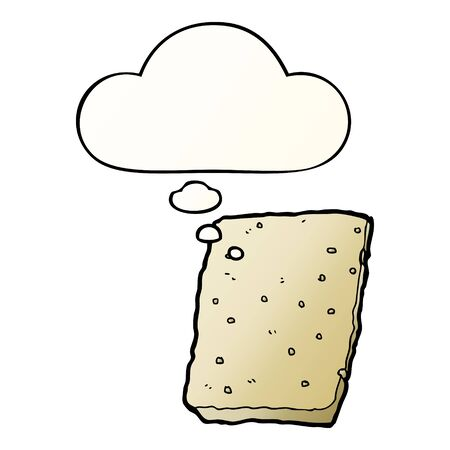 cartoon biscuit with thought bubble in smooth gradient style Ilustração