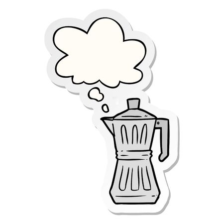 cartoon espresso maker with thought bubble as a printed sticker Ilustrace
