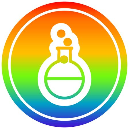science experiment circular icon with rainbow gradient finish