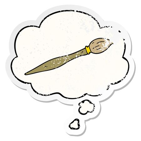 cartoon paint brush with thought bubble as a distressed worn sticker Illustration