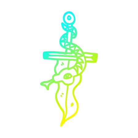 cold gradient line drawing of a cartoon dagger and snake tattoo