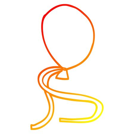 warm gradient line drawing of a cartoon ballon with string