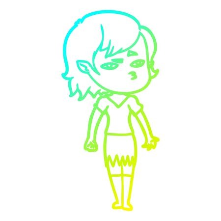 cold gradient line drawing of a cartoon vampire girl