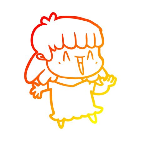 warm gradient line drawing of a cartoon woman
