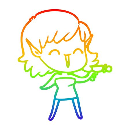rainbow gradient line drawing of a cartoon elf girl