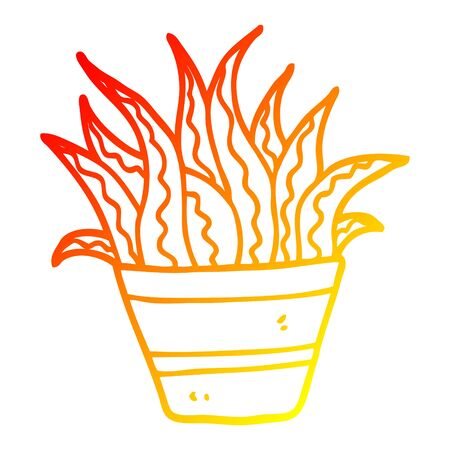 warm gradient line drawing of a cartoon house plant