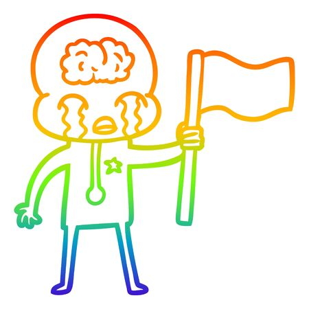 rainbow gradient line drawing of a cartoon crying big brain alien waving a flag