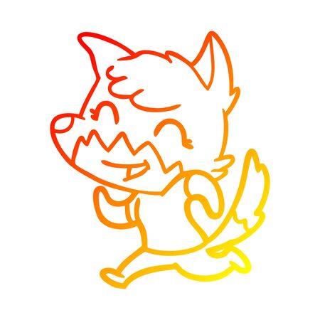 warm gradient line drawing of a happy cartoon fox