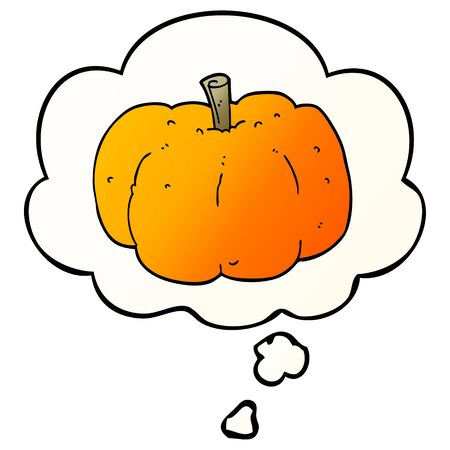 cartoon pumpkin with thought bubble in smooth gradient style
