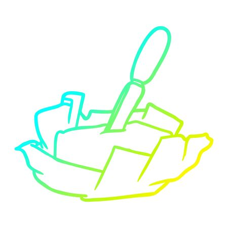 cold gradient line drawing of a traditional pat of butter with knife Illustration