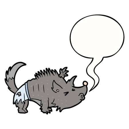 cartoon halloween werewolf with speech bubble