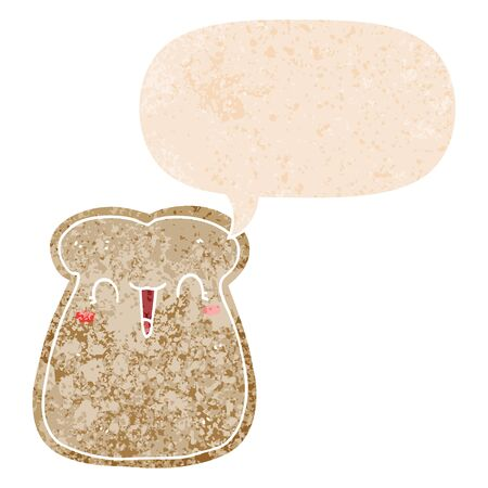 cute cartoon slice of toast with speech bubble in grunge distressed retro textured style