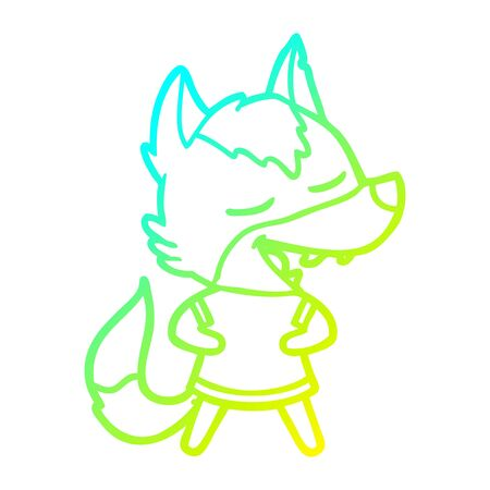 cold gradient line drawing of a cartoon wolf laughing