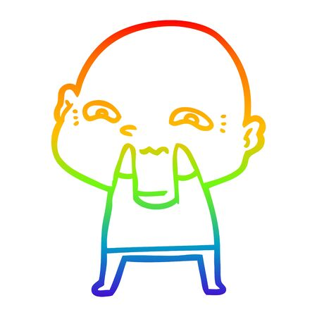 rainbow gradient line drawing of a cartoon creepy guy Ilustrace