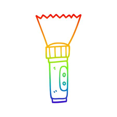 rainbow gradient line drawing of a cartoon electric torch