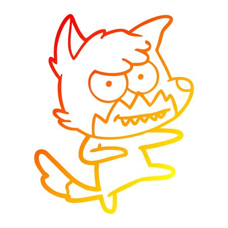 warm gradient line drawing of a cartoon grinning fox