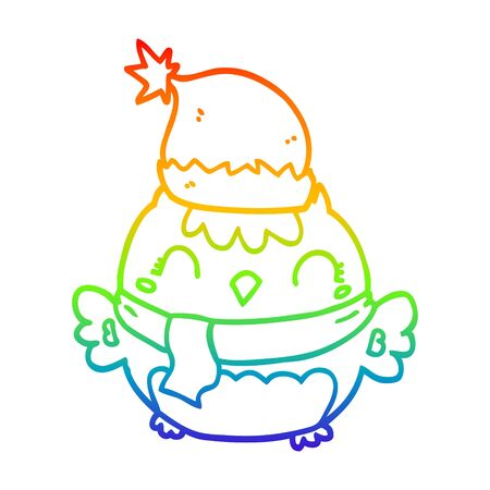 rainbow gradient line drawing of a cute christmas owl