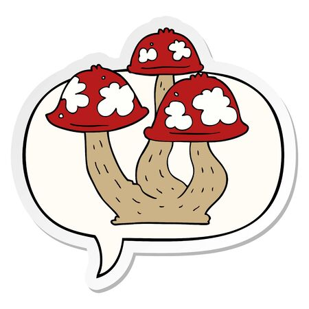 cartoon mushrooms with speech bubble sticker Ilustração