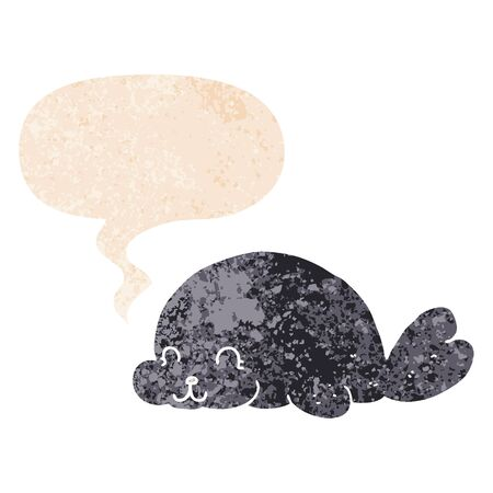 cute cartoon seal with speech bubble in grunge distressed retro textured style  イラスト・ベクター素材