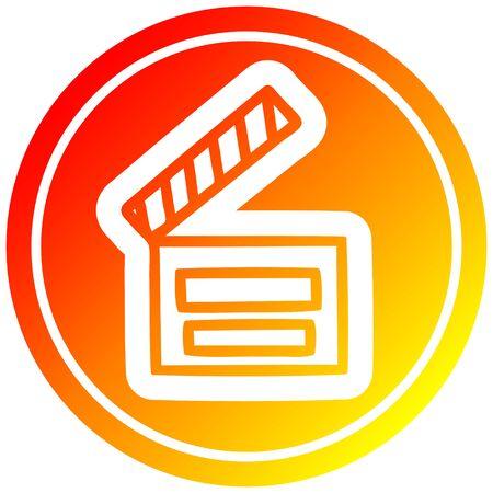 movie clapper board circular icon with warm gradient finish Illustration