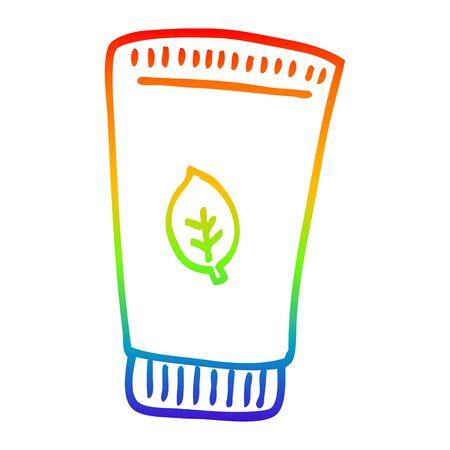 rainbow gradient line drawing of a cartoon skin lotion