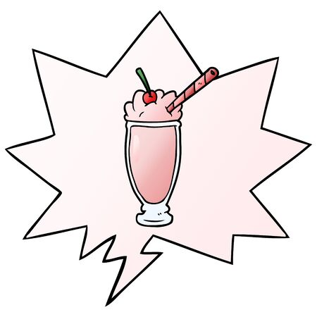 cartoon milkshake with speech bubble in smooth gradient style