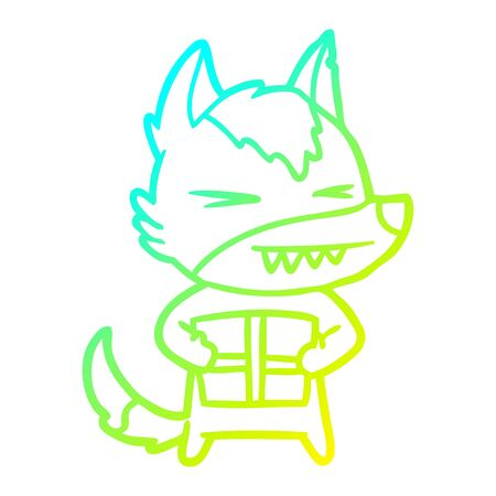 cold gradient line drawing of a angry christmas wolf cartoon