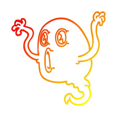 warm gradient line drawing of a spooky cartoon ghost