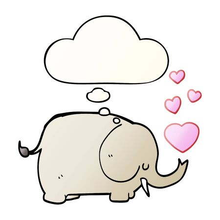 cute cartoon elephant with love hearts with thought bubble in smooth gradient style
