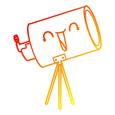 warm gradient line drawing of a cartoon telescope with face