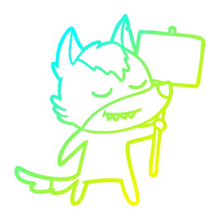 cold gradient line drawing of a friendly cartoon wolf with blank sign