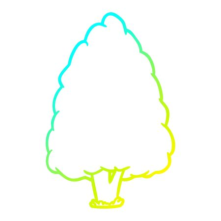 cold gradient line drawing of a tall tree
