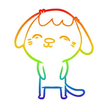 rainbow gradient line drawing of a happy cartoon dog