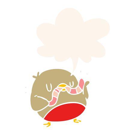 cartoon bird eating worm with speech bubble in retro style Иллюстрация